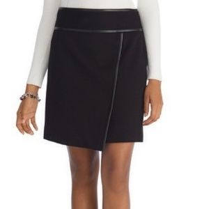 White House Black Market Faux Leather Trim Skirt